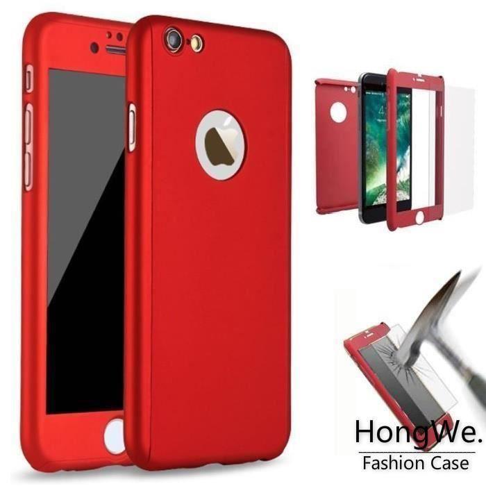 coque integrale iphone 7 plus rouge verre trempe