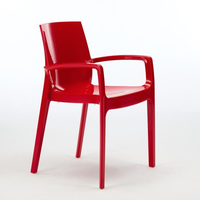 Cool chaise rouge empilable avec accoudoirs cuisine maison for Chaise fly rouge