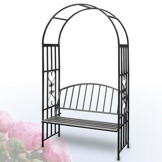 arche de jardin avec banc en m tal noir achat vente tonnelle barnum arche de jardin. Black Bedroom Furniture Sets. Home Design Ideas