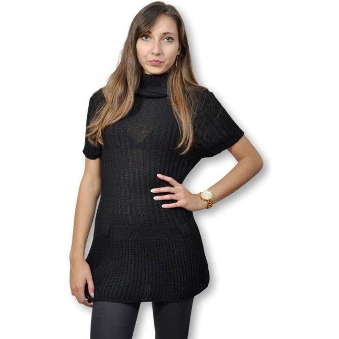 style limité moins cher sans précédent Robe pull femme manche courte couleur noir taille unique fin ...