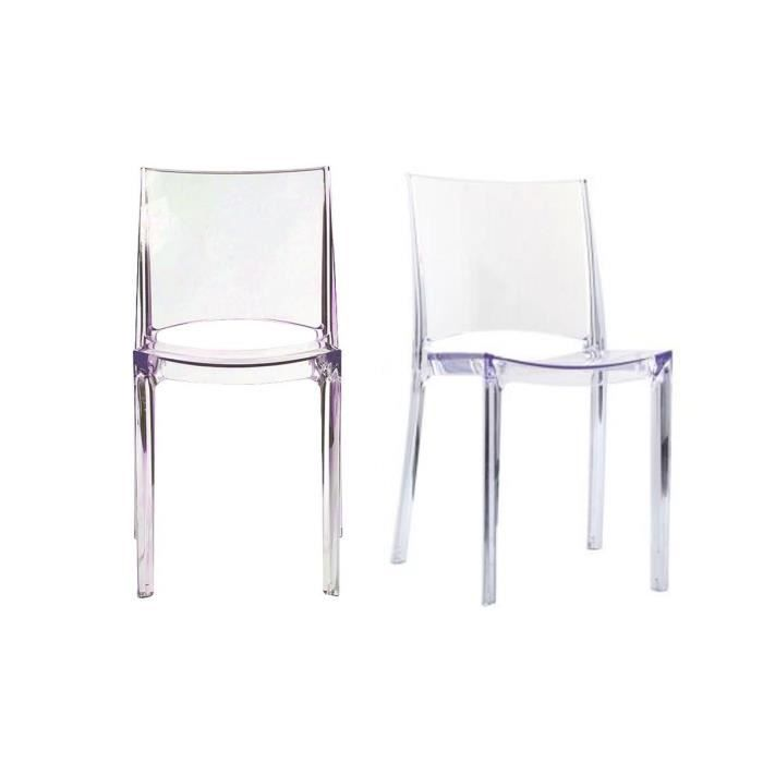 Miliboo lot de 2 chaises transparentes design achat for Chaise design de cuisine