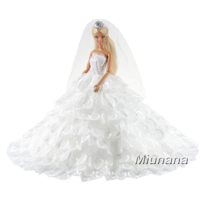 Miunana Robe de Mariée Blanche en Dentelle