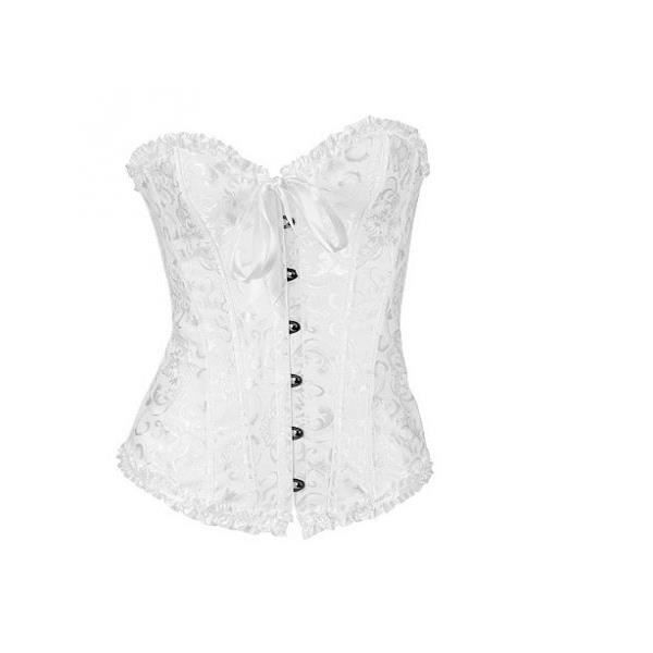 corset en dentelles pour femmes rondes blanc blanc achat vente bustier corset cdiscount. Black Bedroom Furniture Sets. Home Design Ideas