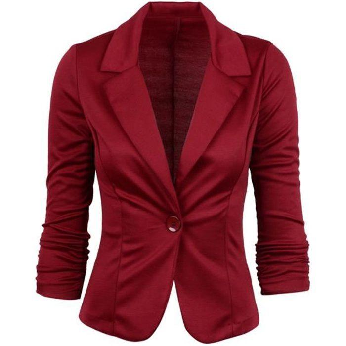 Minetom Blazer Femme Élégant Blazer à Manches Longues Slim Fit OL Veste de Costume Basique Ajusté Manteau Cardigan Blouson Jacket