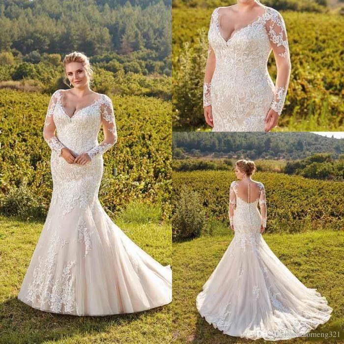 Robe de mariée Grande taille classique traî