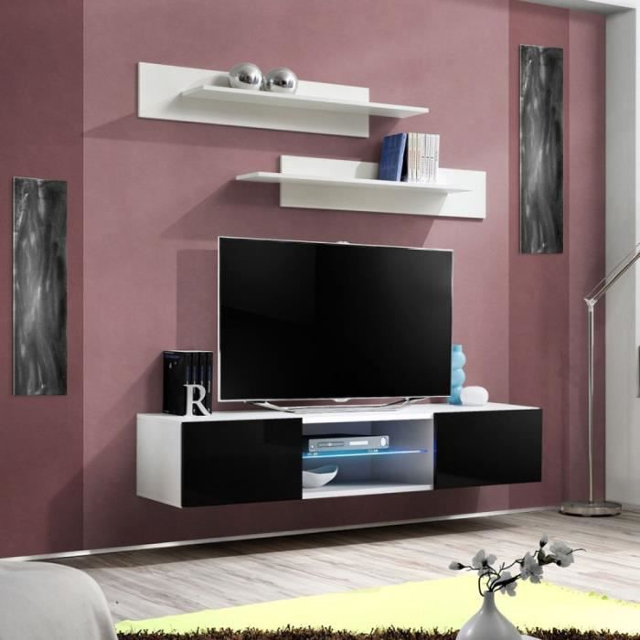 paris prix meuble tv mural design fly iii 160cm noir blanc achat vente meuble tv paris. Black Bedroom Furniture Sets. Home Design Ideas