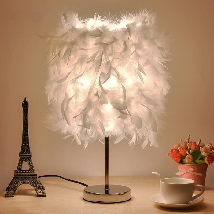 220v Abat Jour Lampe De Table Plumes Chevet Elegant Lumiere
