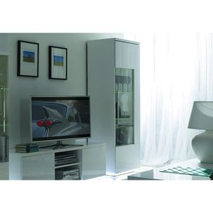 meuble tv blanc vitrine blanc achat vente meuble tv. Black Bedroom Furniture Sets. Home Design Ideas