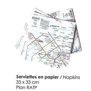 SERVIETTE DE TABLE 20 SERVIETTES 3 PLIS RATP PLAN DU METRO DE PARIS