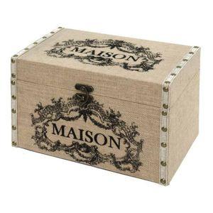 COFFRE - MALLE Coffre Malle de Rangement Bois Toile de Jute 34x22