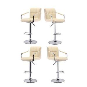 TABOURET DE BAR Ouistore® 4x Beige Tabourets de bar haut Chaise de
