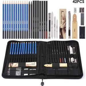 KIT DE DESSIN 42 pcs Crayons de Dessin et Kit de Croquis Profess
