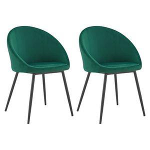 CHAISE Lot de 2 chaises vintage DIANE velours vert Vert