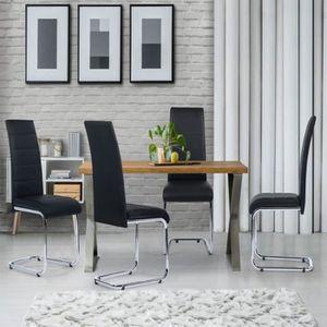 CHAISE Lot de 4 chaises Mia noires pour salle à manger