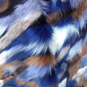 TISSU Fausse Fourrure Dahu Bleu - Tissu au mètre - Quart