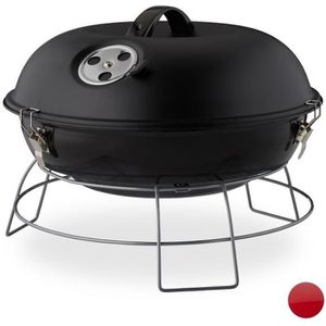 BARBECUE Relaxdays barbecue rond, portable, couvercle, piqu