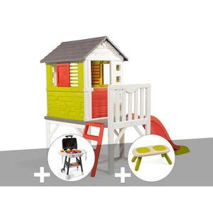 MAISONNETTE EXTÉRIEURE Cabane enfant Pilotis - Smoby + Plancha + Banc 260