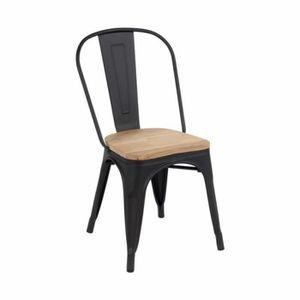 CHAISE RETRO Lot de 4 chaises industrielles NOIR MATE ave