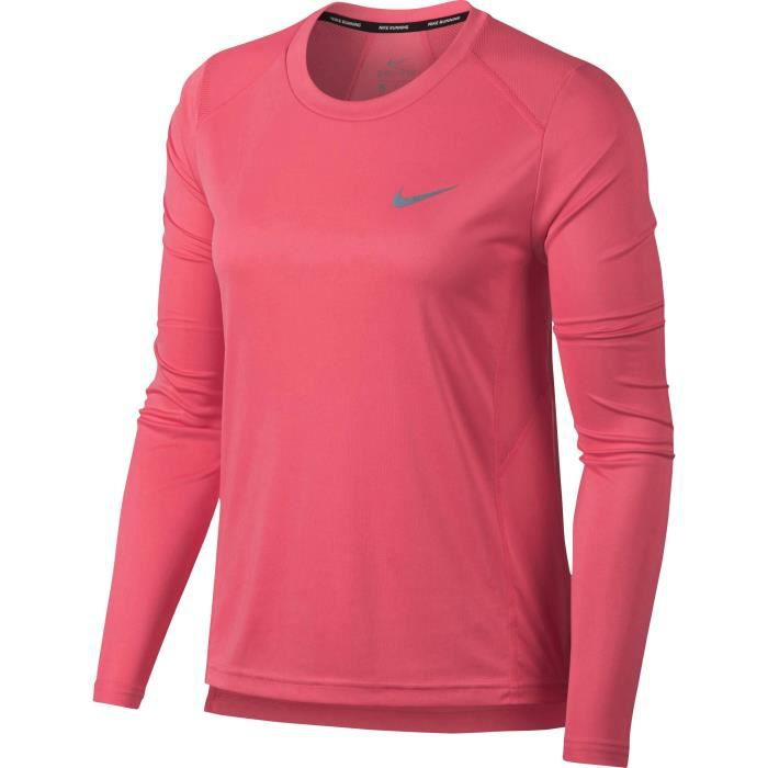 NIKE T-Shirt manches Longues Dry Miler - Femme - Rose