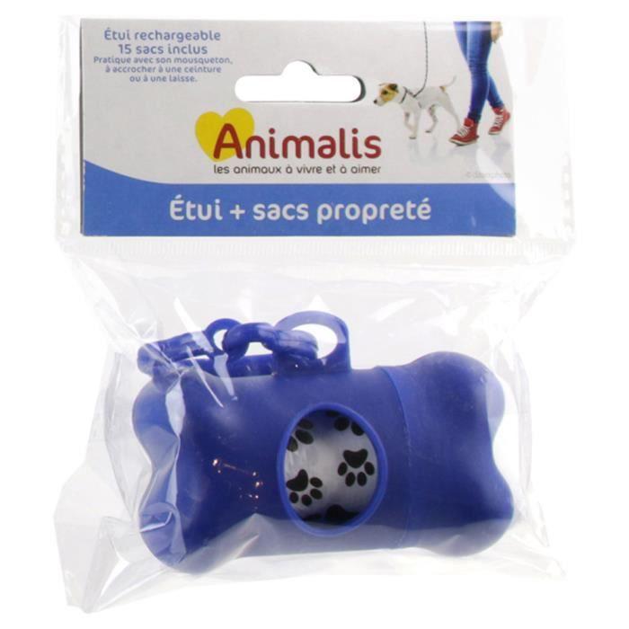 Animalis - Étui avec 15 Sacs Propreté pour Chien - Bleu