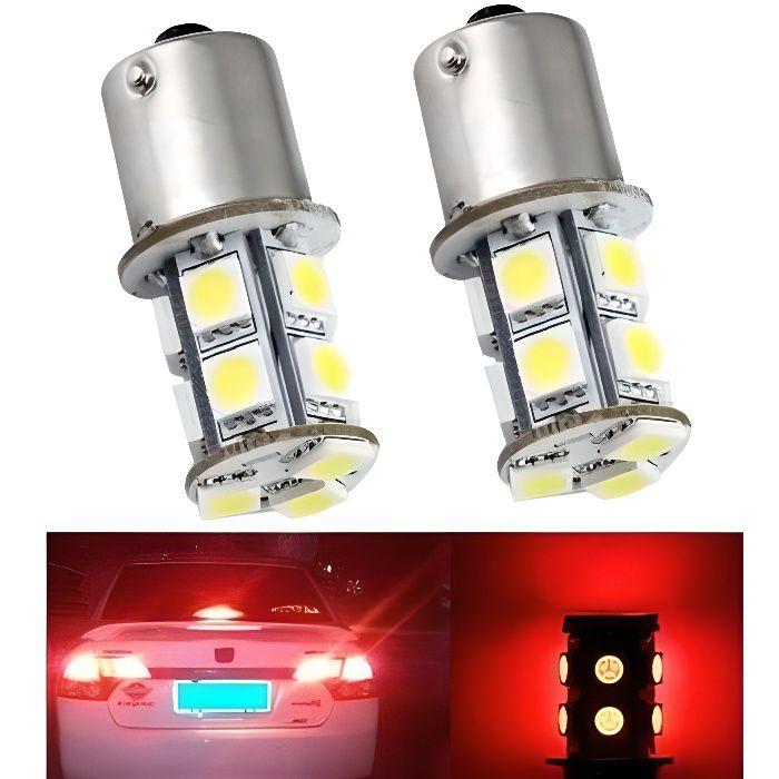 Ampoules P21W LED BA15S 13 leds SMD Rouge Veilleuse Feux arriere Frein Stop 12V