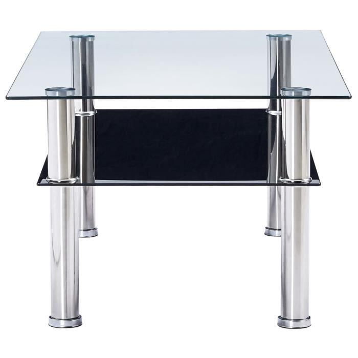 KAI Table basse Noir 100x60x42 cm Verre trempé