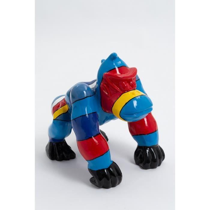 Statue singe gorille mini donkey kong taille S design multibleu - LIKASI - 36cm -