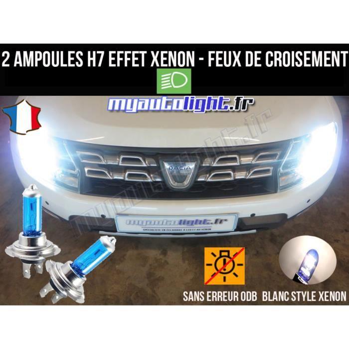 Pack ampoules H7 blanc xenon feux croisement-code pour DACIA DUSTER
