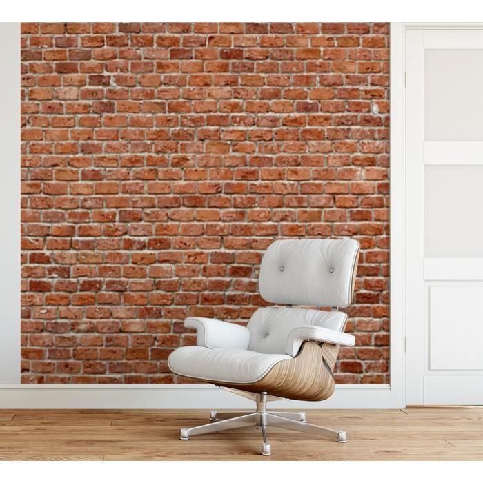 Papier peint finition satiné pré-encollé -Mur de briques rouges- L, 274 x H, 270 cm