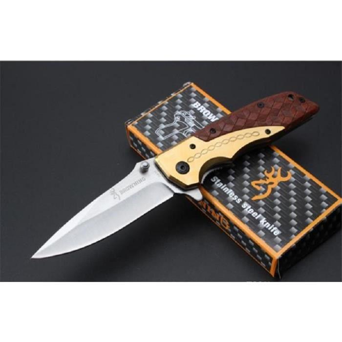 Couteau De Poche Massif BROWNING Manche Acier Or/Résine Style Cuir 13 cm Outdoor