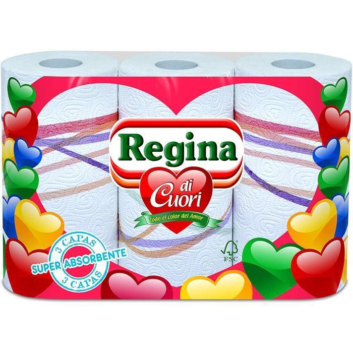 REGINA Papier de cuisine di cuori – Paquet de 6 x 3 rouleaux