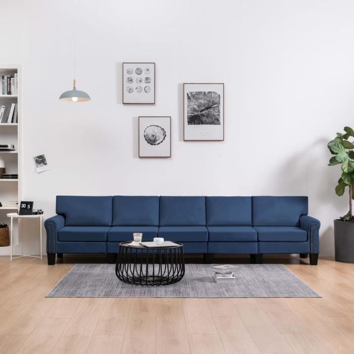 Canapé droit fixe 5 places Moderne Sofa Divan Canapé de salon Confortable Bleu Tissu