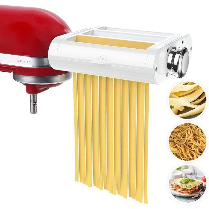 ANTREE - Rouleau à pâtes et emporte-pièce 3 en 1 pour cuisines, mixeurs de stand inclus, rouleau de feuilles de pâtes, coupe-spaghet