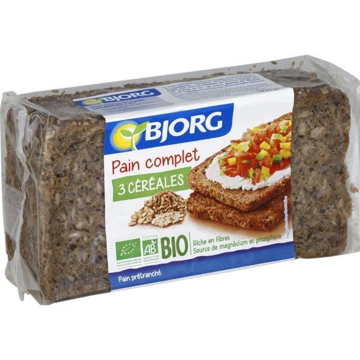 Pain complet 3 céréales bio 500 g Bjorg