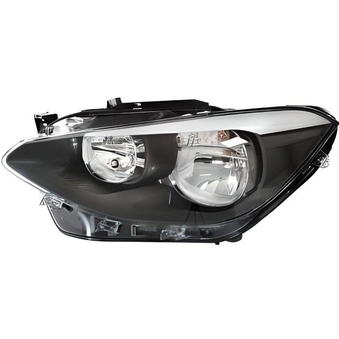 Phare Optique avant gauche pour BMW SERIE 1 F20 de 2011 à 2015, H7+H7, fond noir, Neuf.