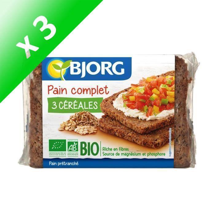 BJORG Pain Complet 3 Céréales Bio - 500 g (Lot de 3)