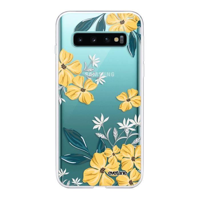 Coque Samsung Galaxy S10 Plus 360 intégrale transparente Fleurs jaunes Ecriture Tendance Design Evetane.