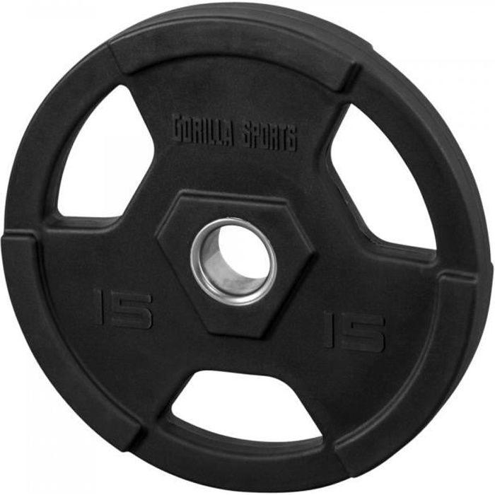Gorilla Sports - Poids disques olympiques en fonte rêvetement caoutchouc avec anneau métalliquede 51mm - de 12,5 à 25 kg - 15 KG