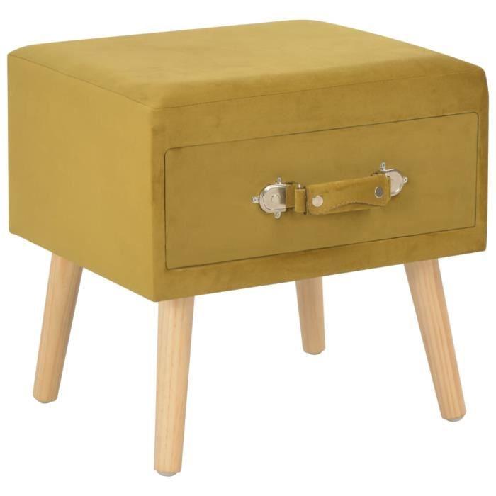 Table de chevet scandinave Table de Nuit Contemporain Moutarde 40x35x40 cm Velours