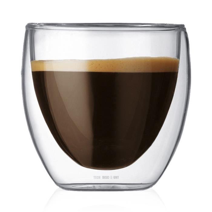TD® Pack de 6 Tasse à café/Expresso/Thé en Verre - 80 ml , Set/Tasses à café Double paroi, Tasse Expresso Originale.