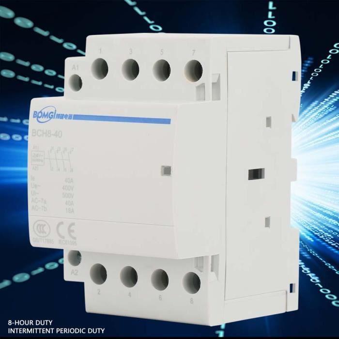 220V//230V 2P 1NO 1NC AC Contacteur 20A 24V 220V 230V 50 60Hz Contacteur ca domestique Montage sur rail DIN