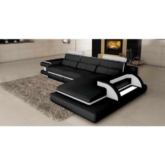 canap d 39 angle cuir noir et blanc design avec lumi re ibiza angle droit achat vente canap. Black Bedroom Furniture Sets. Home Design Ideas