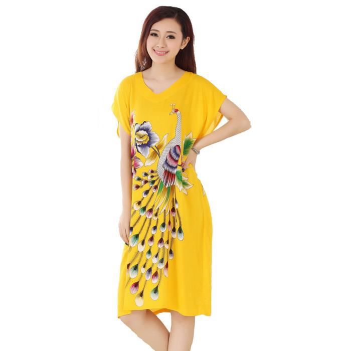 femmes chemise robe de nuit en coton pyjama peignoir kimono paon jaune jaune jaune achat. Black Bedroom Furniture Sets. Home Design Ideas