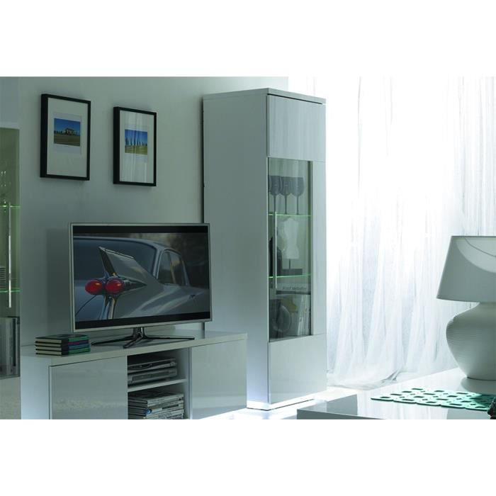 meuble tv 1 vitrine dante led blanc laqu achat. Black Bedroom Furniture Sets. Home Design Ideas