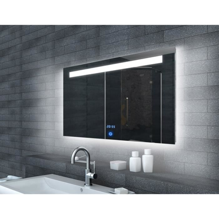 miroir de salle de bains avec clairage led horloge et. Black Bedroom Furniture Sets. Home Design Ideas