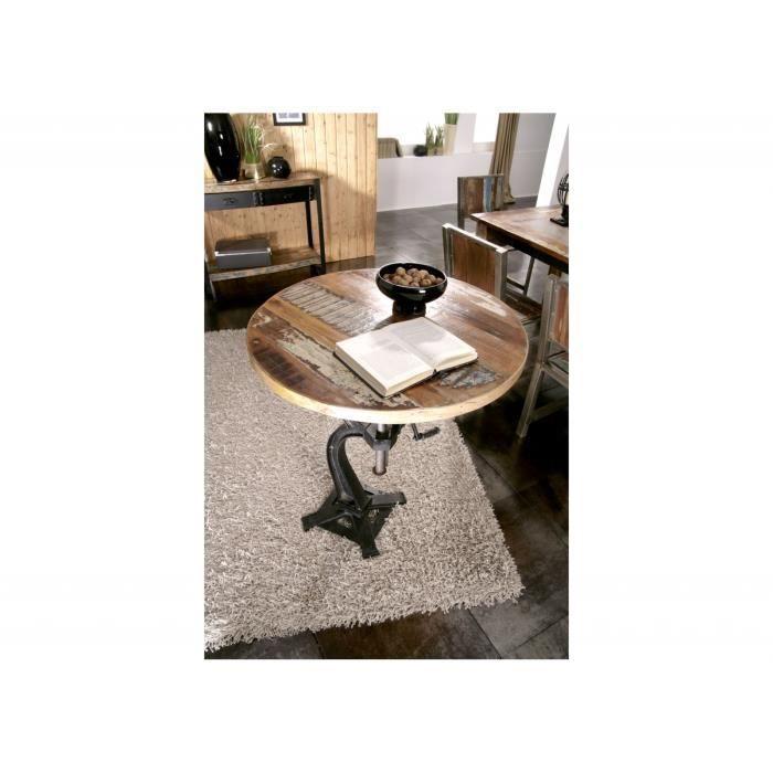 TABLE À MANGER SEULE Table d'appoint ronde Ø 75 cm - Fer et bois massif
