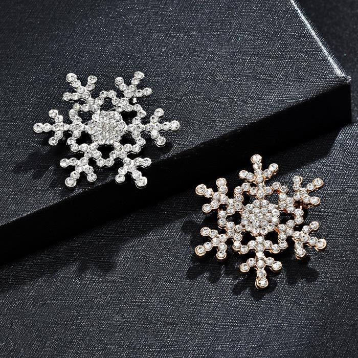 Broche en forme de flocon de neige pour femme avec strass
