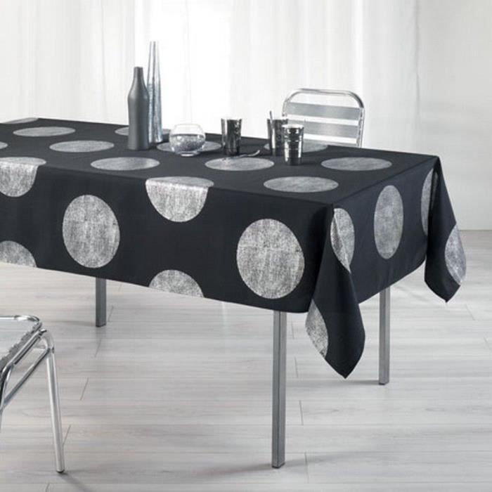 nappe anti tache rectangle 150x240 cm platine noir achat vente nappe de table soldes d. Black Bedroom Furniture Sets. Home Design Ideas