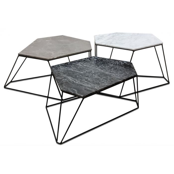 Casa Padrino set de table basse design blanc / gris / noir avec ...