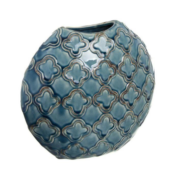 VASE - SOLIFLORE Vase en Ceramique Bleu 28 cm - Couleur: Bleu - 287